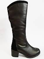 Женские сапоги зимние кожаные на удобном каблуке Romax 700-56
