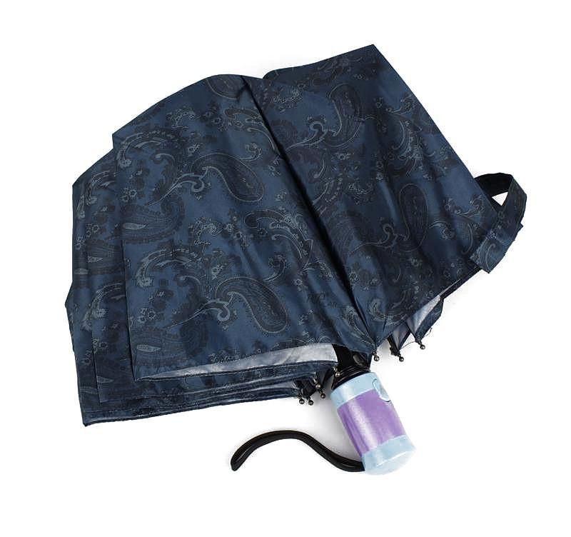 Женский стильный зонт полуавтомат синий Mario 949-3