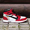 "Мужские кроссовки Off-White x Nike Air Jordan 1 ""Red/White"" (ОФФ Вайт Найк Аир Джордан) красные, фото 2"