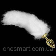 Жовта анальна пробка з довгим білим хвостом