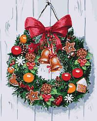 Холст для рисования Рождественский венок (KHO5534) 40 х 50 см Идейка (Без коробки)
