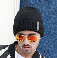 Мужская шапка теплая черная, фото 1