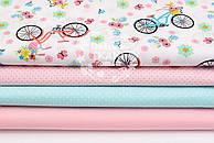 """Набор тканей 50*50 см из 4-х шт """"Разноцветные велосипеды и точки"""""""
