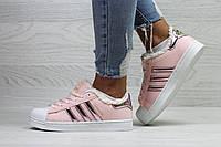Женские Кеды Adidas Superstar Велюр  (Зима)