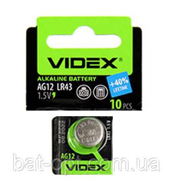 Батарейка часовая Videx G12 LR43 Alkaline таблетка