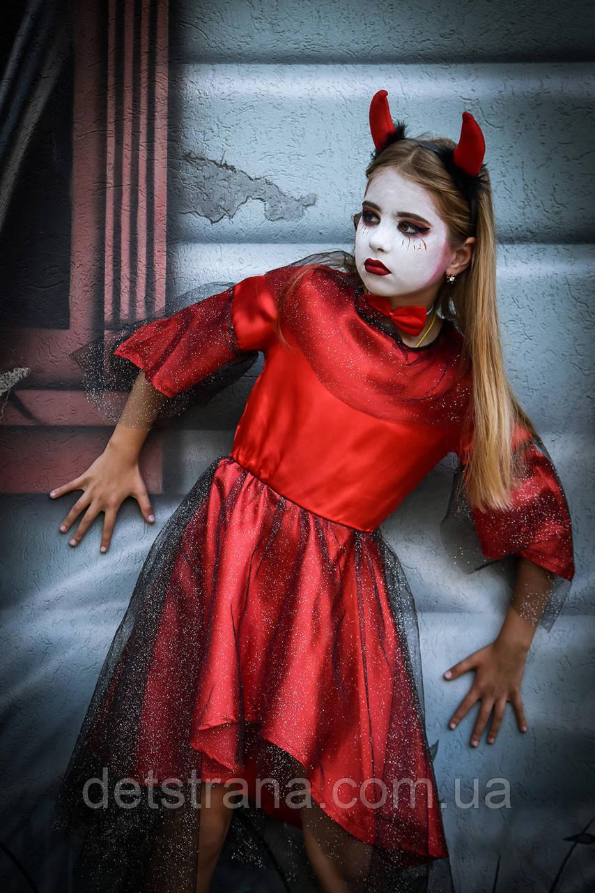 Детский карнавальный костюм Чертик девочка