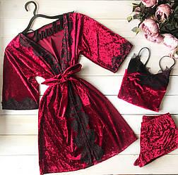 Бордовый Велюровый халат+ пижама с кружевом