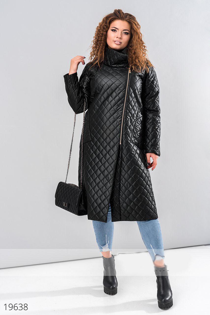 e3062cce723 Стеганое женское пальто черное