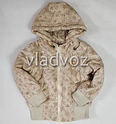 Детская демисезонная куртка для девочек бежевая 5-6 лет