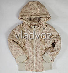 Детская демисезонная куртка для девочек бежевая 3-4 года