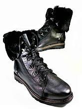 Женские ботинки из натуральной кожи черные.Mida 24341