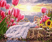 Картина по номерам Девушка среди цветов