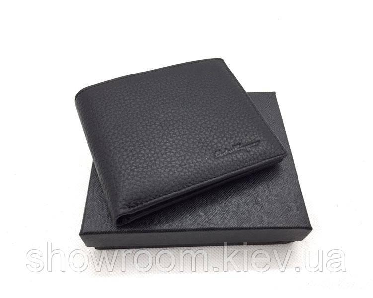 Мужское портмоне в стиле Salvatore Ferragamo (F-0204) black leather