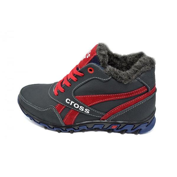 Кроссовки зимние на меху подростковые SAV Cross Fit 12 Blue Red