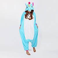 Кигуруми пижама голубой единорог K0017