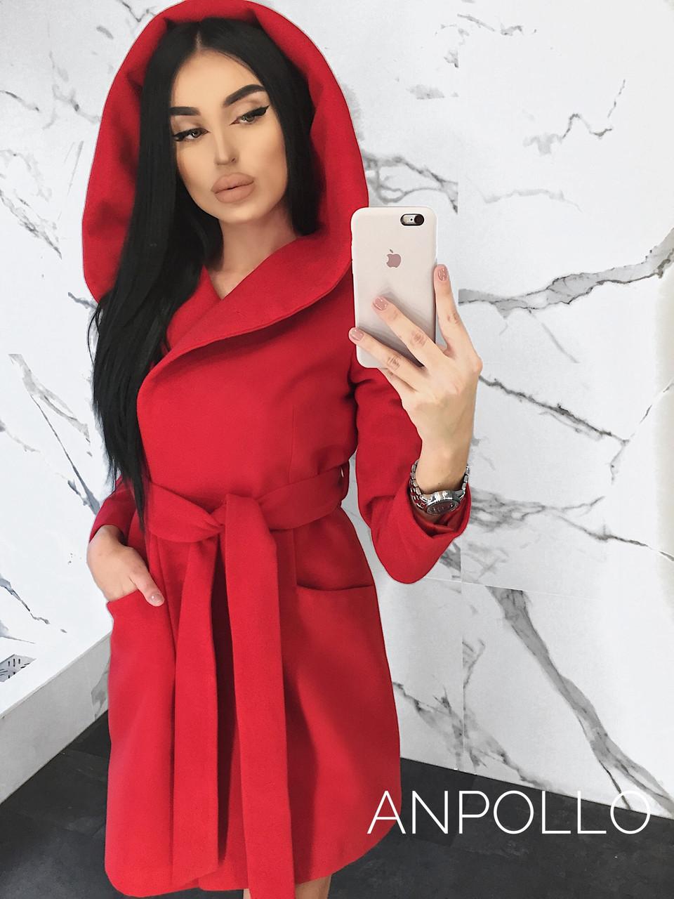 Кашемировое женское Пальто на запах с большим капюшоном 17pt112