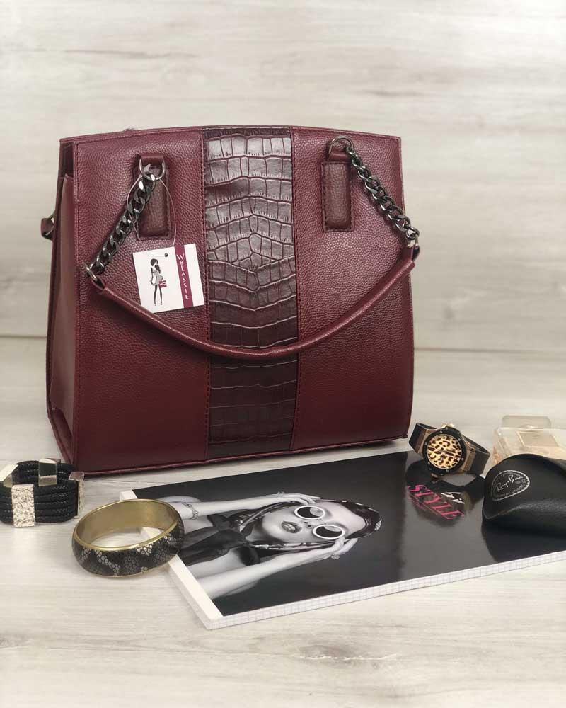 047026d4b3fe Бордовая сумка саквояж 32106 дамская с вставкой под крокодила, фото 1