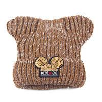 Детская зимняя шапочка для девочки Микки с ушками коричневая