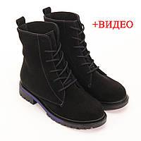 Женские замшевые ботинки черные, фото 1