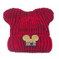 Детская зимняя шапочка для девочки Микки с ушками красная
