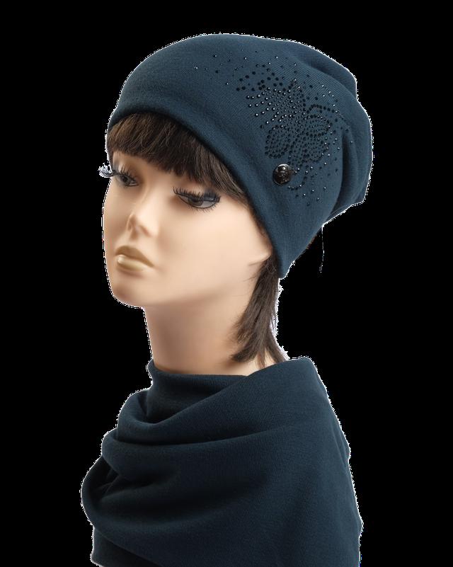 Комплект шапка и шарф Марта со стразами