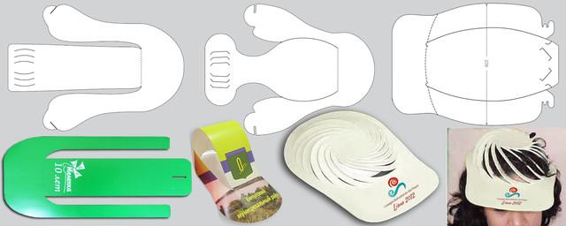 Изготовление кепок, козырьков и бейсболок с рекламой из картона, бумаги
