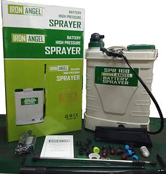 Аккумуляторный опрыскиватель Iron Angel SPR 16B функция 2 в 1: электрическая помпа + ручной насос модель 18г.