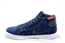 Зимние Кроссовки в стиле Nike Air Jordan Retro на меху, Dark Blue, фото 3