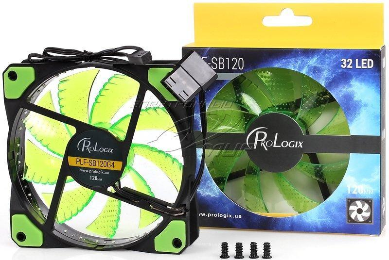 Вентилятор ProLogix 120*120*25 32 Green LED 3+4pin (PLF-SB120G4) BOX