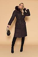 Пальто  Афелия Мех с капюшоном и поясом (Зима) S 44, фото 1