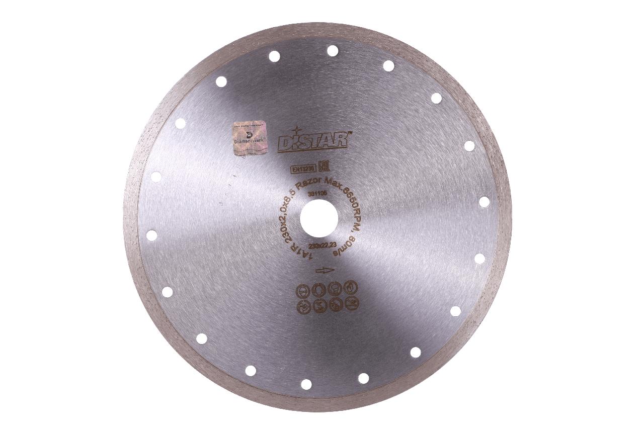 Круг алмазный отрезной DISTAR 1A1R 230x2,0x10x22,23 Razor для болгарки (УШМ) сплошной по граниту, керамике