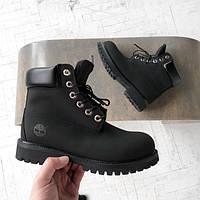 Ботинки мужские Timberland на меху черные топ реплика