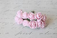 Букетик розочек 2 см диаметр мини 12 шт. нежно-розового цвета на стебле, фото 1