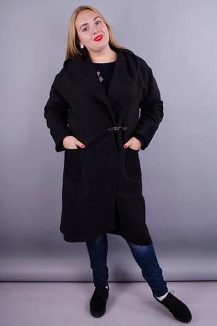 Женское пальто-кардиган больших размеров. черный. размеры:50,52,54,60,64, фото 2