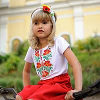 Украинская вышитая футболка для девочки   Українська вишита футболка для дівчинки