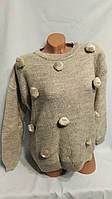 Теплый вязаный женский свитер без горла. Производство ТУРЦИЯ.