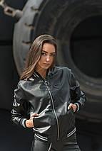 "Коажаная женская куртка-бомбер ""S"" с карманами и манжетами, фото 2"