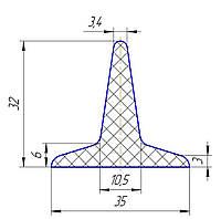 Шеврон для конвейерной ленты 32мм
