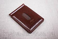 Зажим для денег бордовый 22-2, натуральная кожа, фото 2