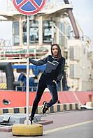 """Бархатный женский спортивный костюм """"B&J"""" с джинсовыми вставками (2 цвета)"""