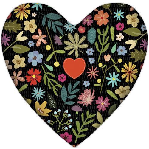 Подушка серце Квіточки і серце 37х37 см (4PS_17L022)