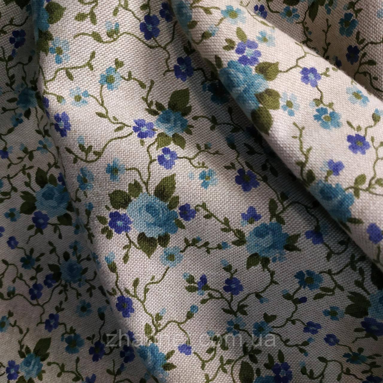 Ткань для штор Promesse розы бирюзовый 280 см (391221)