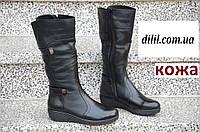 Женские кожаные зимние сапоги черные (код 353), фото 1