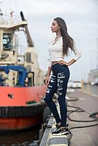 """Узкие женские джинсовые брюки """"WAVE"""" с принтом (2 цвета), фото 2"""