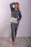 Тёплая махровая пижама костюм для дома и сна на девочку с мишкой , Турция, фото 1