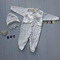 Крестильный набор для новорожденного (человечек+шапочка) Сеньор 2, фото 1