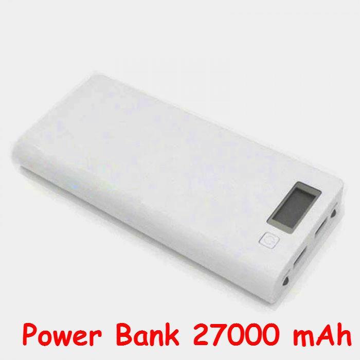 Powerbank 27000 mAh Li-on Универсальная мобильная батарея (белая) Оригинальный аккумулятор! Реальная емкость