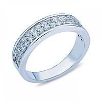 Серебряное кольцо с дорожкой из белого циркония JR-2996-R