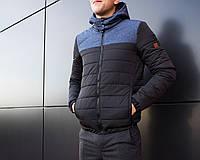Куртка мужская Pobedov Soft Shell Combi, материал-плащевка, цвет-черный с синим. Код товар PO-Вк(Р)00093