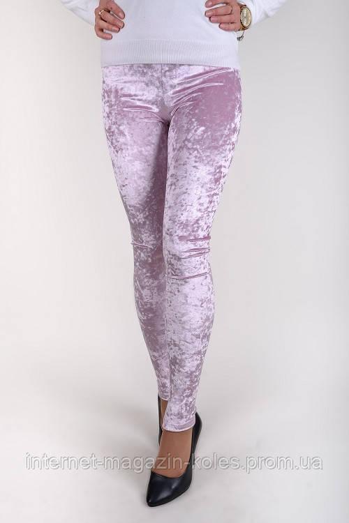 Розовые женские велюровые лосины